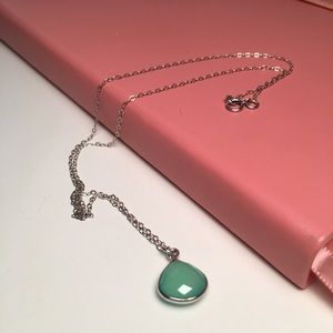 Delicate sterling chrysoprase teardrop necklace